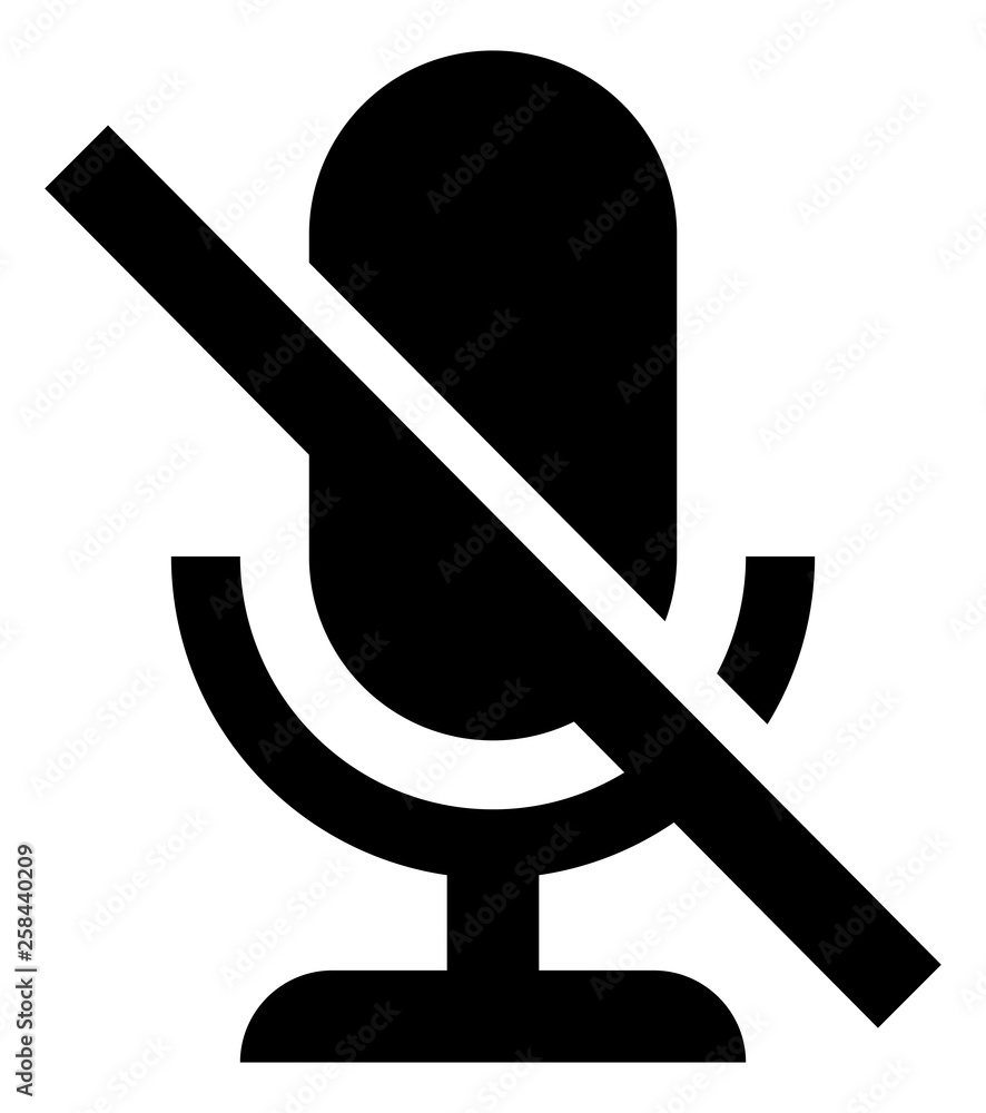 Fototapeta Microphone Off Mute Vector Icon
