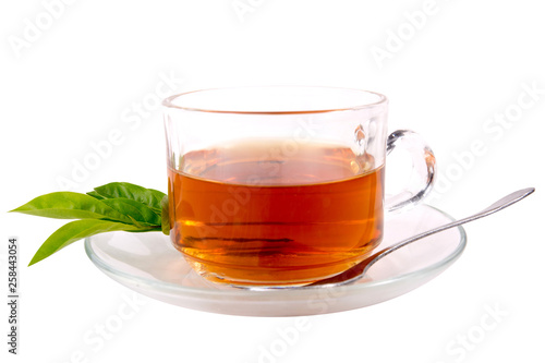 Staande foto Thee cup with tea and green leaf