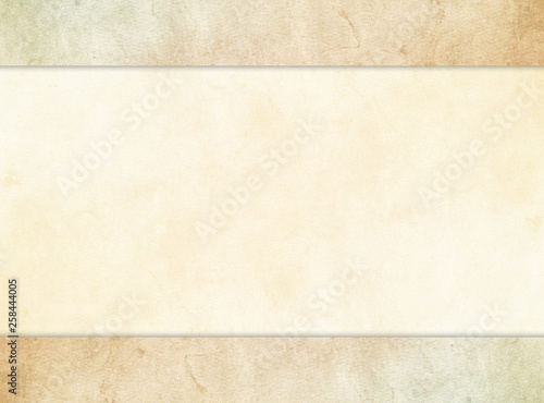 A subtle tan parchment texture background set under a stone texture header and footer Canvas Print