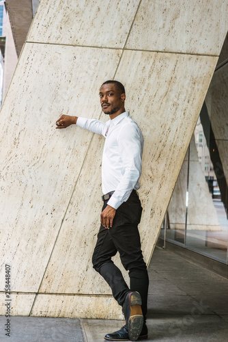 731a4765e3c Portrait of Young African American Man in New York City. Black guy with  beard