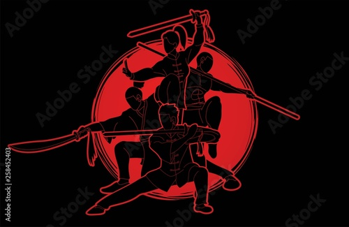 Group of People Kung Fu fighter, Martial arts with weapons action cartoon graphic vector Canvas-taulu