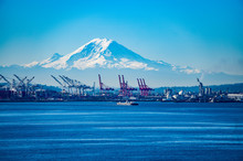 Seattle Port With Red Cranes And Boats With Mt Rainier
