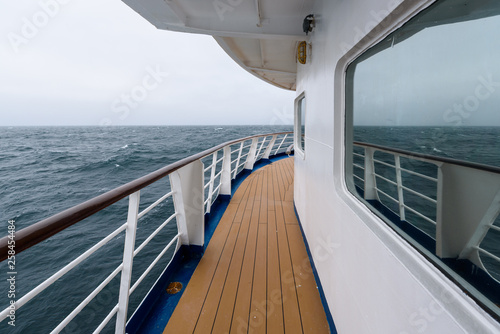 Fotografie, Obraz  View of foggy day and blue ocean from outside deck of cruise ship, Atlantic Ocea