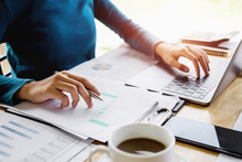 Accountant Woman Working On Desk Business Finance And Accounting