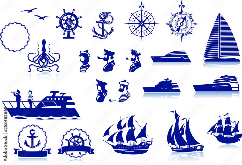 Fototapety, obrazy: Set of various marine emblem silhouettes