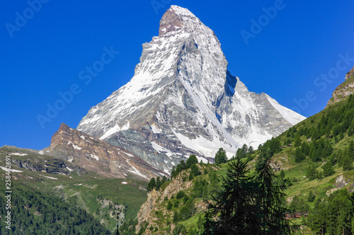 Summer alpine landscape with the Matterhorn (Cervino) in the Swiss Alps, near Ze Wallpaper Mural