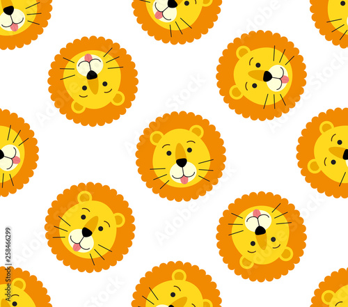 Fototapeta Seamless pattern of cute lion head on white background obraz na płótnie