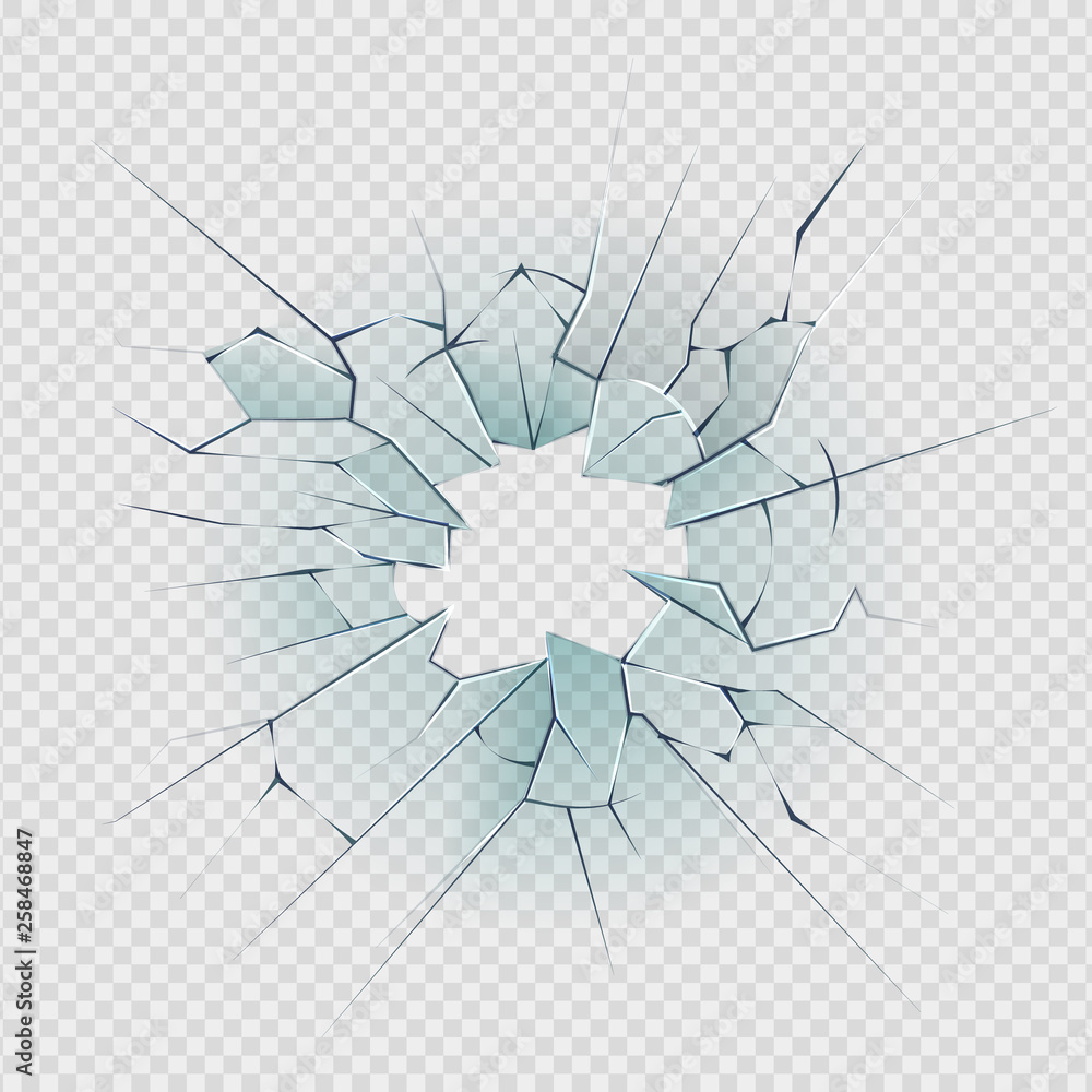 Fototapeta Broken glass. Cracked window texture realistic destruction hole in transparent damaged glass. Vector realistic shattered glass template