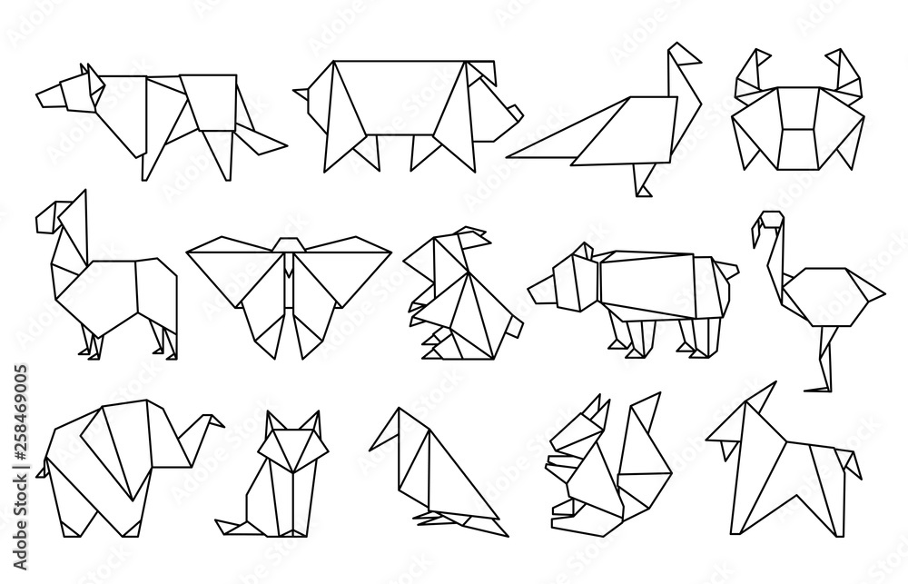 Fototapeta Line origami animals. Abstract polygon animals, folded paper shapes, modern japan design templates. Vector animal icons set