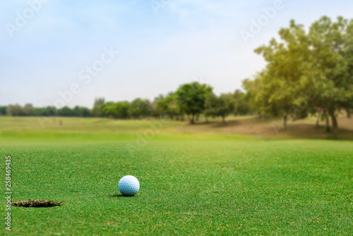 Poster Golf White Golf ball on green course near hole on blurred landscape of golf course in bright day time with copy space. Sport, Recreation, Relax in holiday concept