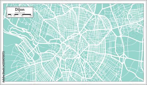 Fototapety, obrazy: Dijon France City Map in Retro Style. Outline Map.