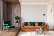 Leinwanddruck Bild - Modern living room interior with brick wall blank wall, sofa, lounge chair, table, wooden wall and floor, plants, carpet, hidden lighting. 3d render illustration mockup.