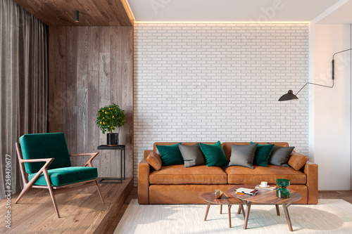 Amazing Modern Living Room Interior With Brick Wall Blank Wall Sofa Ibusinesslaw Wood Chair Design Ideas Ibusinesslaworg