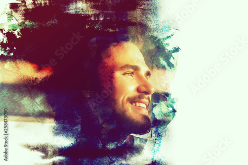 Photo  Blending double exposure a man smiling with watercolor style vintage