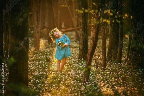 Obraz Beautiful little girl in a blue dress walking in the spring wood - fototapety do salonu