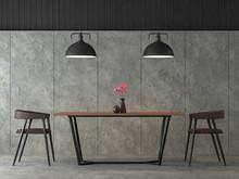 Modern Loft Dining Room 3d Ren...