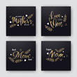 Mother's Day greeting card set with stylish text and heart on black background.
