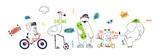 Fototapeta Fototapety na ścianę do pokoju dziecięcego - Cute animals hand drawing illustration vector. Rabbit, flamingo, bear, cat, elephant. Eps 10.