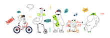 Cute Animals Hand Drawing Illustration Vector. Rabbit, Flamingo, Bear, Cat, Elephant. Eps 10.