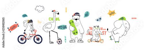 fototapeta na ścianę Cute animals hand drawing illustration vector. Rabbit, flamingo, bear, cat, elephant. Eps 10.