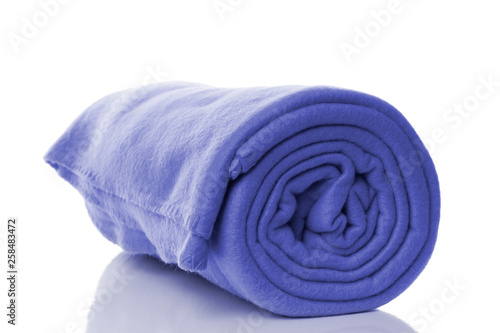 Leinwand Poster blue fleece blanket with reflection on white