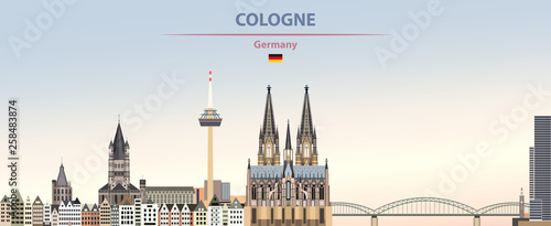 Vector illustration of Cologne city skyline on colorful gradient beautiful day sky background with flag of Germany