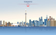 Vector illustration of Toronto city skyline on colorful gradient beautiful day sky background with flag of Canada