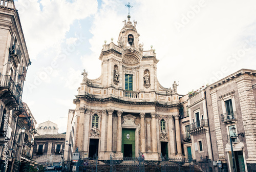 Fotobehang Beautiful cityscape of Italy, facade of old cathedral Catania, Sicily, Italy, Basilica della Collegiata, famouse baroque church.
