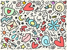 Love And Date Doodle Colorful Hand Drawn Pattern With Bird, Heart, Flowers And Crown. Happy Valentine`s Day Illustration Background