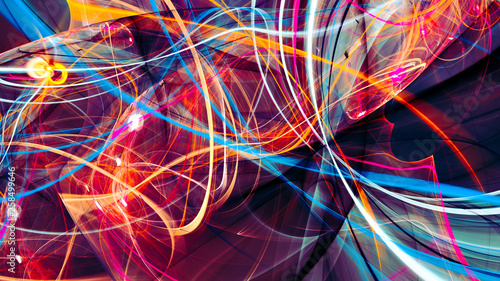 Fotobehang Fractal waves Abstract bright color motion composition. Modern futuristic dynamic background. Multicolor artistic pattern of paints. Fractal artwork for creative graphic design