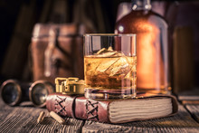Closeup Of Whisky With Ice On ...