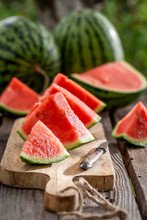 Delicious And Jucy Watermelon In Sunny Day