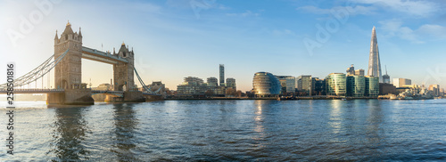 The iconic urban skyline of London, UK, during a sunny morning: from the Tower Bridge to London Bridge