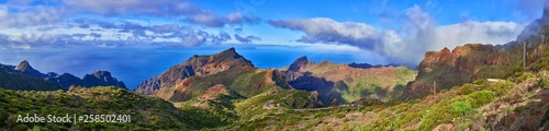 Poster Canary Islands road to Masca Tenerife panorama