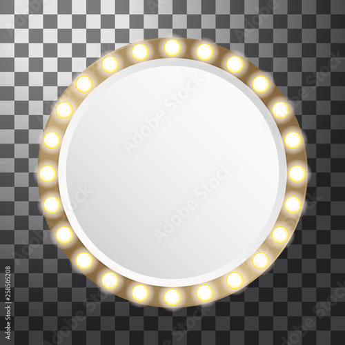 Photo  Circle mirror with light bulbs, vector illustration isolated on transparent back