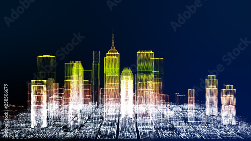 obraz PCV Future cyber business city and city energy technology concept, neon color city architecture model color changing, 3D Rendering for presentation