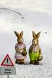 Sign White Easter Bunnys