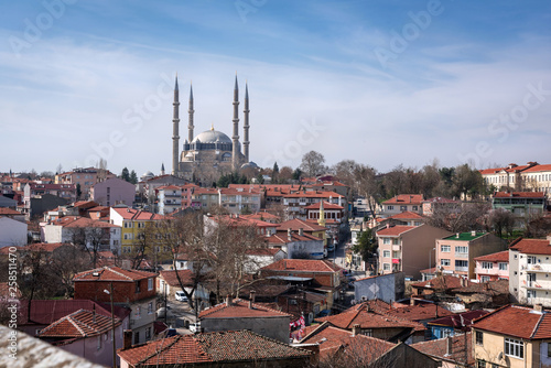 Foto op Canvas Barcelona Selimiye Mosque view from hill in Edirne City of Turkey