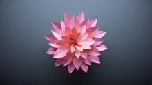Large Central Flower Made Of Pink Sheets Of Paper. Dark Background. 3D Illustration.