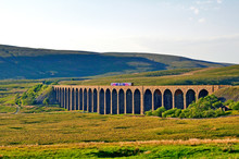 Train Crossing The Ribblehead Viaduct Over Batty Moss The Yorkshire Dales Railway England