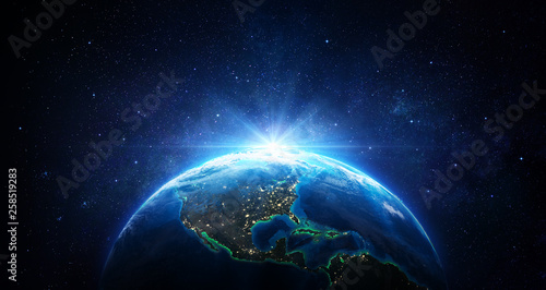 Fotografie, Obraz  Sunrise In The Space - Blue Earth With City Lights - Usa elements of this image