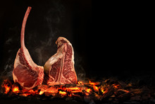 Whole T-Bone Steak Cooking On ...