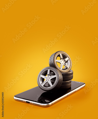 Buy Tires Online >> Unusual 3d Illustration Of Car Tires On A Smartphone Screen