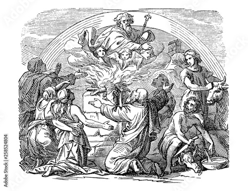 Fototapeta Vintage antique illustration and line drawing or engraving of biblical Noe and his sons sacrificing animals