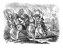Vintage Antique Illustration And Line Drawing Or Engraving Of Biblical Story About Destruction Of Cities Sodom And Gomorrah. From Biblische Geschichte Des Alten Und Neuen Testaments, Germany 1859