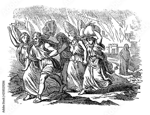 Vintage antique illustration and line drawing or engraving of biblical story about destruction of cities Sodom and Gomorrah. From Biblische Geschichte des alten und neuen Testaments, Germany 1859 Fotomurales