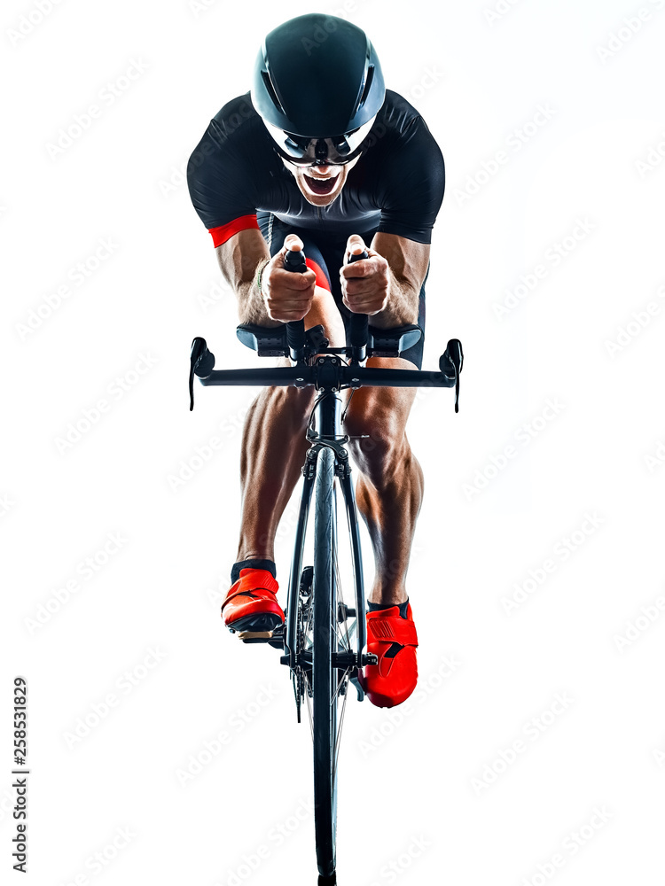 Fototapeta triathlete triathlon Cyclist cycling  in studio silhouette shadow  isolated  on white background