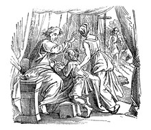 Vintage Antique Illustration And Line Drawing Or Engraving Of Biblical Story About Issac Giving Blessing To Jacob Instead Of Esau.From Biblische Geschichte Des Alten Und Neuen Testaments, Germany 1859