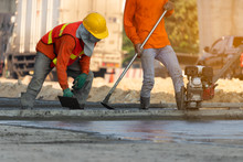 Concrete Road Construction Workers, Construction Worker Team