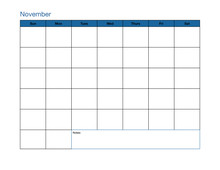November Blank Calendar Page